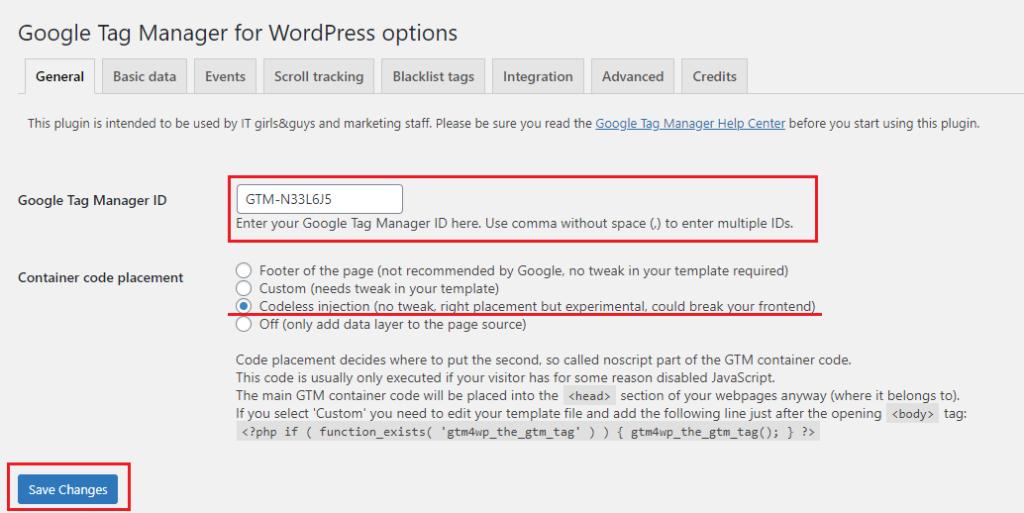 Stjórnborð Google Tag Manager for WordPress