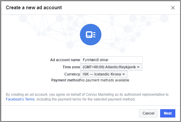 Tengja Facebook Ad account við Facebook Business Manager